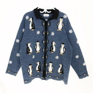 Vintage Hand Embroidered Penguin Cardigan Sweater